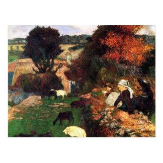 Carte Postale Eugène Henri Paul Gauguin - bergers bretons