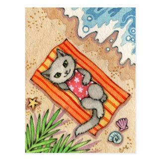 Carte Postale Évasion - art mignon de chat de plage