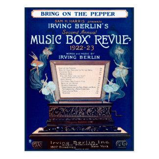 Carte Postale Examen vintage 1922 de boîte à musique d'Irving