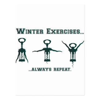 Carte Postale Exercices drôles d'hiver