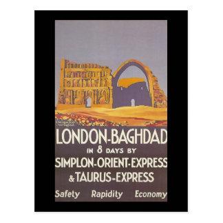 Carte Postale Express d'orient de simplon de Londres Bagdad