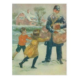 Carte Postale Facteur et enfants