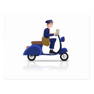 Carte Postale Facteur sur le scooter