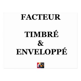 Carte Postale FACTEUR TIMBRÉ et ENVELOPPÉ - Jeux de Mots