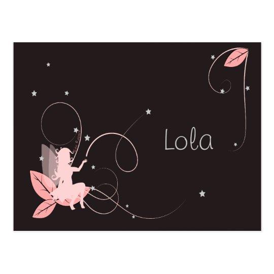 Carte Postale Faire-part de naissance fée rose étoiles arabesque