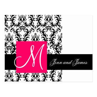 Carte Postale Faire-part fuchsia blanc noir de mariage damassé