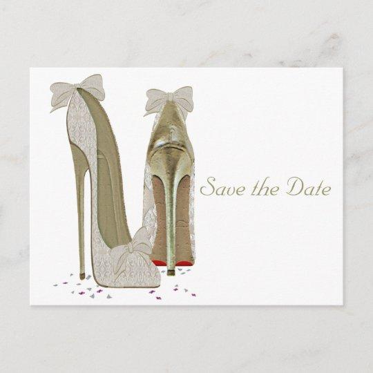 Carte Postale Faire-part Produits de papier de talons hauts de mariage | Zazzle.fr
