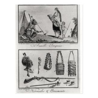 Carte Postale Famille, bras et ornements Iroquois