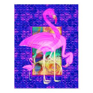 Carte Postale Famille d'art rose de coquilles et de ketmie de
