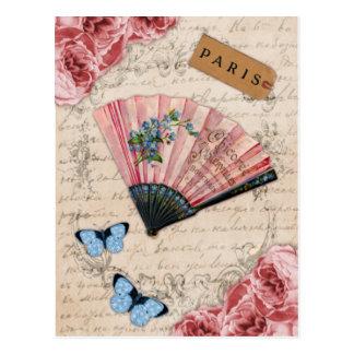 Carte Postale Fan française rose vintage
