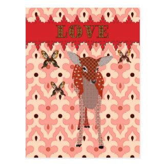 Carte Postale Faon ambre et courrier rose d'amour de papillons