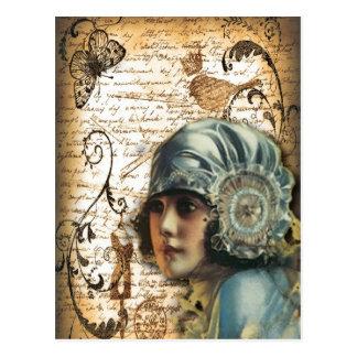Carte Postale Fashionista de Paris de fille de Gatsby d'art déco