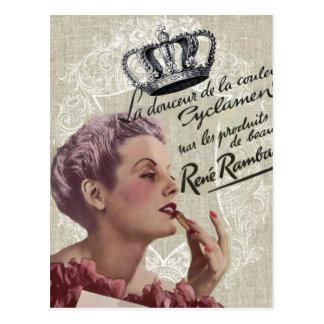 Carte Postale Fashionista girly de charme de couronne française
