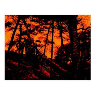 Carte Postale Faucheuse dans la forêt orange effrayante de Lit