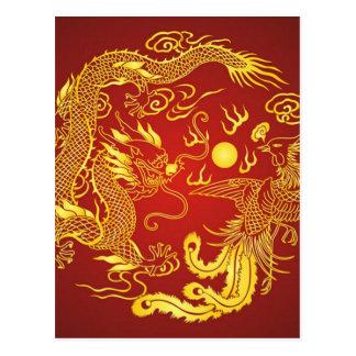 Carte Postale Faveur chinoise de mariage de Phoenix de dragon