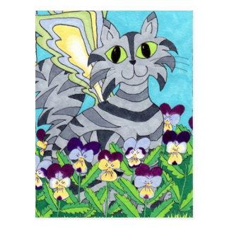 Carte Postale Fée de chat avec des pensées