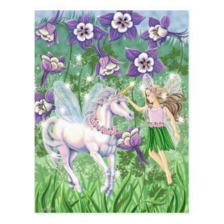Carte Postale Fée de licorne