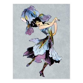 Carte Postale fée vintage de fleur d'iris