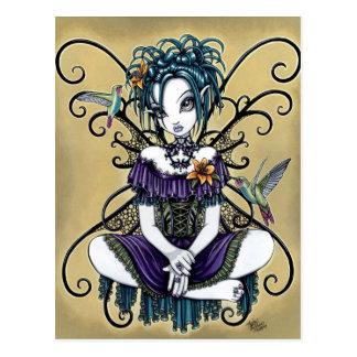 Carte postale féerique d'art de colibri gothique