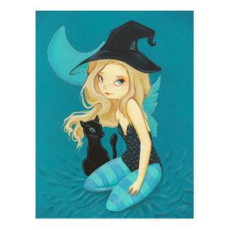 Carte postale féerique de chat noir de sorcière