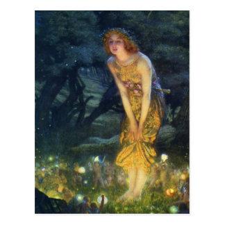Carte postale féerique de danse d'Ève de milieu de