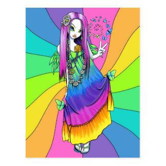 Carte postale féerique hippie de paix