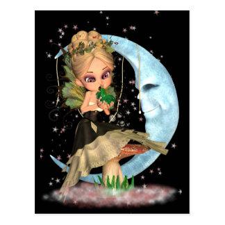 Carte postale féerique mignonne avec la grenouille