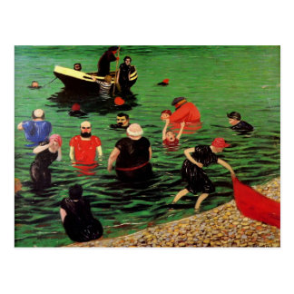 Carte Postale Felix Vallotton : Se baigner dans Etretat