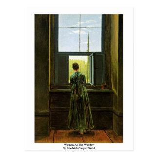 Carte Postale Femme à la fenêtre par Friedrich Caspar David
