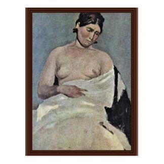 Carte Postale Femme assise avec le coffre nu, par Corot