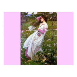 Carte Postale Femme aux pieds nus dans la peinture de vent