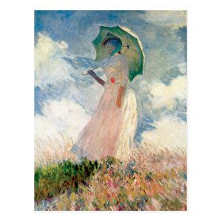Carte Postale Femme avec la promenade Monet de parasol