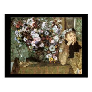 Carte Postale Femme avec le chrysanthème