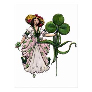 Carte Postale Femme avec le jour vintage de Patrick de saint de