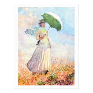 Carte Postale Femme avec le parasol faisant face juste par