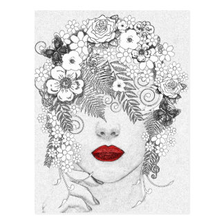 Carte Postale Femme avec les lèvres rouges