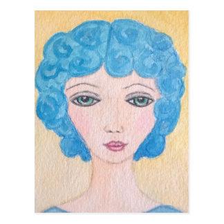 Carte Postale Femme bleue de cheveux
