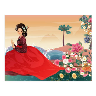 Carte Postale femme coréenne dans un hanbok