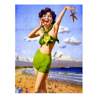 Carte Postale Femme dans le maillot de bain à la plage
