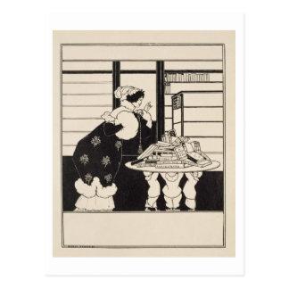 """Carte Postale Femme dans une librairie, conception pour """"un"""