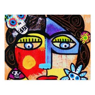 Carte Postale Femme de corail de Mexicain de crâne de sucre