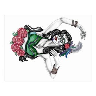 Carte Postale Femme de crâne de sucre avec des roses