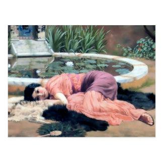 Carte Postale Femme de Godward par lilly le niente lointain de