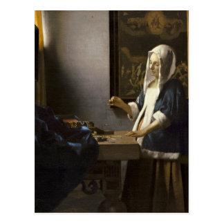 Carte Postale Femme de janv. Vermeer tenant un équilibre