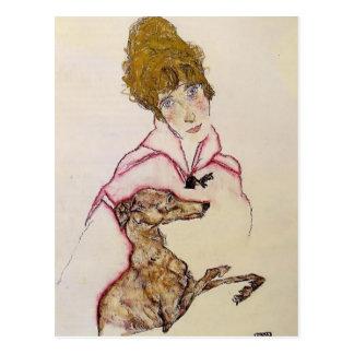 Carte Postale Femme d'Egon Schiele- avec le lévrier (Édith