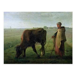 Carte Postale Femme frôlant sa vache, 1858