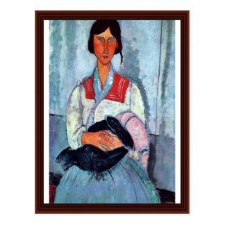 Carte Postale Femme gitane avec l'enfant par Modigliani Amedeo