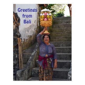 Carte Postale Femme indoue de Bali avec le fruit
