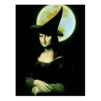 Carte Postale Femme Mona Lisa Halloween de Witchy