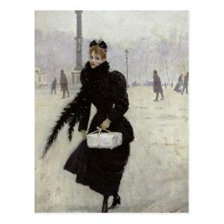 Carte Postale Femme parisienne dans le Place de la Concorde